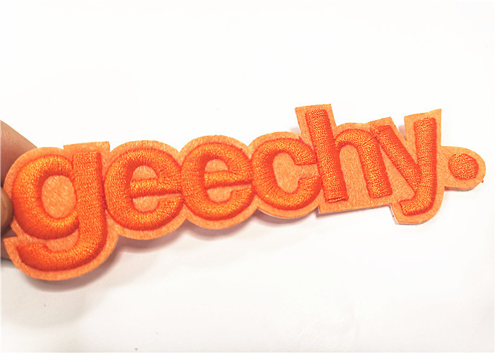 Garment Felt 3D Embroidered Letter Patch Commercial Brand Name
